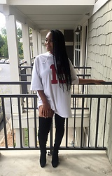 Janai Lourdes - Nike Football Jersey, Ego Black Thigh High Boots - Served in Alabama like Roll Tide