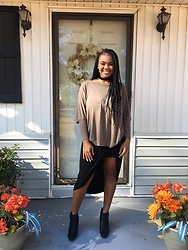 Janai Lourdes - Charlotte Russe Off The Shoulder Sweater, Charlotte Russe Black Skirt With Slit, Charlotte Russe Black Leather Booties - Thanksgiving Best