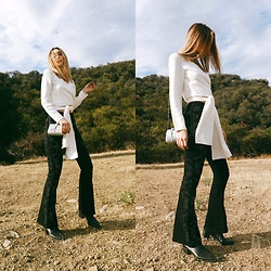 Ana Prodanovich - Forever 21 Wrap Blouse, Free People Flared Embellished Jeans, From St. Xavier Silver Clutch, Vagabond Chelsea Boot - Flared Jeans For Fall