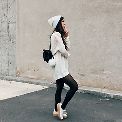 Karen C - Urban Outfitters Beanie, Lf Sweater Dress, Urban Outfitters Tights, Fenty X Puma Creepers, Free People Backpack - Creepin
