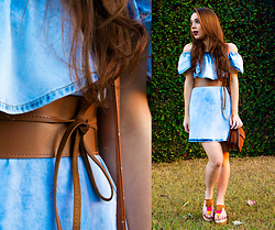 Priscila Figueredo - Denim Dress, Flatform, Belt - Jeans & Flatform