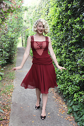 Kayla J - Unique Vintage Burgundy 1920s Style Dress - Burgundy Flapper Dress