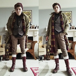 'Olly Rose - Zara Parka Coat, Doc Martens 14 Hole Cherry Red, New Look Houndstooth Waistcoat - Library Adventure