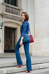 Cristina Feather - Tommy Hilfiger Denim Shirt, Tommy Hilfiger Flared Jeans, Password Sandals, Musette Bag - All denim