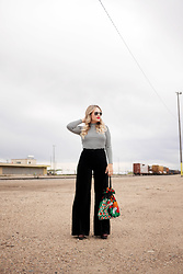 Sandy Joe Karpetz - H&M Striped Crop Top, Vintage Black Velvet Flares, Ray Ban Aviators, Stila Liquid Matte Lipstick In Beso, Rachel Comey Platform Sandals, Vintage Beaded Purse - On The Tracks