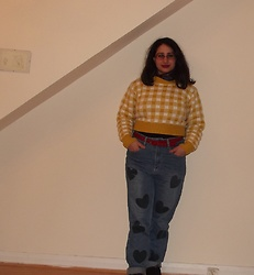Selina M - Yesstyle Checked Cropped Jumper, Asos Heart Print Jeans - No turtles were harmed in the making of the soup