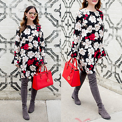 Jenn Lake - Cece Floral Shift Dress, Stuart Weitzman Lowland Over The Knee Boots, Henri Bendel West 57th Street Satchel, Quay Gemini Sunglasses, Kate Spade Tassel Earrings - Floral Shift Dress