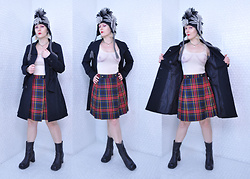 Suzi West - Hot Topic Union Jack Mohawk, Suzi West Model Barbie Hand Earrings, Shantel Niblock Ghost Necklace, Forever 21 Free The Nipple Tank Top, Only Trench Coat, Bonjour Tartan Skirt, Steve Madden 90s Chunky Heel Ankle Boot - 06 November 2016