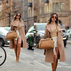 Louise Xin - Vila Camel Coat, Gucci Sunglasses, Boohoo Choker Sweater Nude, River Island Nude Tote Bag, Nelly Lace Up Thigh High Boots - In the nude