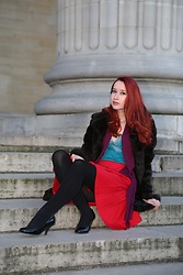 Rebecca Salter - Dorothy Perkins Faux Fur Coat, Argos Additions Turquoise Vest Top, George Plum Cardigan, Asos Red Skirt, Debenhams Black Heels - Plums at the Panthéon