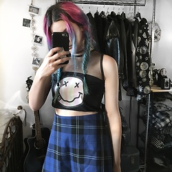 Mickylene Delgado - Love Too True Plaid Blue Skirt - Love Too True