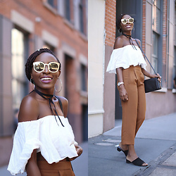 Nkenge Brown - Polette Sunnies, Aritzia Pants, Urban Outfitters Mules, Zara Off Shoulder Top - WHEN IN DOUBT, GO NEUTRAL