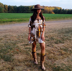 Ioanna Nasios - Steve Madden Cognac Brown Tan Leather Boots - Fall Foliage