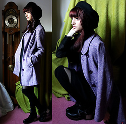 Sophia A - Edc Violet Coat, Zaful Black Beret, Zaful Cross Strap Chunky Heels - Winter