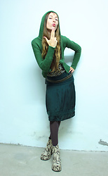 Siri Sa - Cardigan, Zara Belt, Promod Skirt, Buffalo 90ies Vintage Boots - These boots are made for walking...