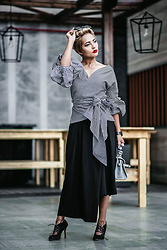 Nilu Yuleena Thapa - Chic Wish Wrap Top, John Galliano Lace Heels, Nihao Fashion Asymmetrical Culottes - Wrapped in Gingham