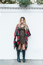 Ashley R - Forever 21 Tartan Plaid Poncho, Forever21 Leopard Print High Low Dress, Urbanog Lace Up Boots - Outlander