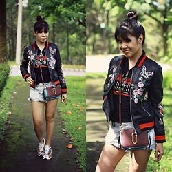 Jenniya Yah - Zaful Embroidered Pu Leather Jacket, Zaful Distressed Embroidery Shorts, Crossbody Bag - Embroidered PU Leather Jacket from ZAFUL
