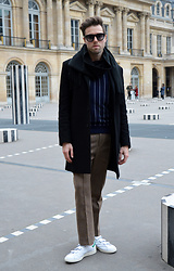 Jordi - Cos Scarf, Cos Wool Coat, Gant Rugger Pinstriped Jumper, Acne Studios Rene Pintuck Multi, Adidas Stan Smith - Royal