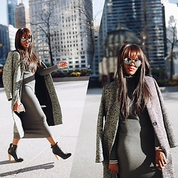 Jenn I - Gray Coat, Gray Sweater Dress - Gray Elements