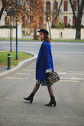 Andreea Birsan - Marina Cap, Blue Coat, Silver Metallic Skirt, Grey Bell Sleeve Sweater, Fishnet Tights, Embroidered Bag, Leather Ankle Boots - Where to find the perfect blue coat II