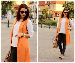 Jana Dishani - Margifashion Vest, Mango Sweater, Next Jeans, Michael Kors Bag, Michael Kors Watch, Ralph Lauren Sunglasses - Orange vest