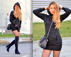Martina Manolcheva - Gamiss Hoodie, Bag, Over The Knee Boots - Black Hoodie