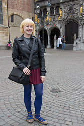 Jamie Rose - Ashley By Twenty Six International Faux Leather Jacket, H&M Gray Mock Turtleneck, H&M Maroon Skater Skirt, Forever 21 Blue Tights, Target Leopard Print Flats, Jo Totes Black Camera Bag - In Bruges