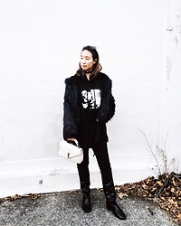 WMwatchme - Puma Fenty, Urban Outfitters Faux Fur Jacket, Saint Laurent White Bag, Isabel Marant Knee Boots - Layers
