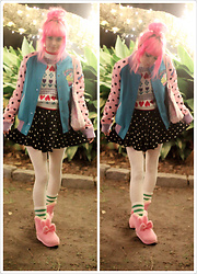 Lily P - Galaxxxy Japan Bomber Jacket, Vintage Childs Sweater, Bodyline Squirrel Party Tote, Forever 21 Polka Dot Skirt, Target Rainbow Dot Tights - Casual spank kei !