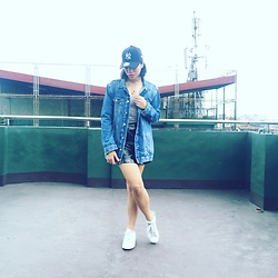Cassey Cakes - Mango Denim Jacket, Topshop Skirt, Adidas White Sneakers - Rooftop