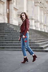 Andreea Birsan - Embroidered Jeans, Embroidered Jeans, Burgundy Leather Jacket, Embroidered Long Sleeve Top, White Turtleneck Sweater, Burgundy Suede Ankle Boots - How a pair of embroidered jeans can elevate your look