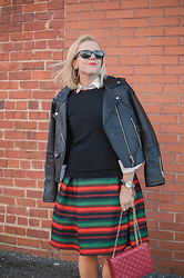 Taylor Reese - Stylewe Stripe Dress, Blank Nyc Moto Jacket, Jcrew Sweater - StyleWe Holiday Stripes