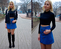 Kate F - Chicuu Denim Skirt, Chicuu Crop Top, Fashionmia Bomber Jackets, Zaful Thigh Boots - Crop Top
