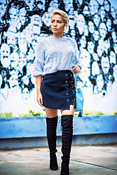 Nilu Yuleena Thapa - Chic Wish Tie Bud Skirt In Black, Quiz Clothing Over The Knee Boots With Perspex Heel - Fuzzy