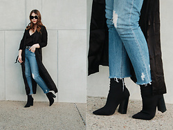 Taylor Smith - Makemechic Duster, Luna B Silk Cami, Tularosa Jeans, Tony Bianco Boots - Black Duster and Denim
