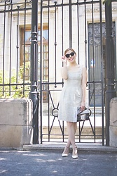Deborah Ferrero - Gamiss Cat Eye Sunglasses, Almond White Dress, Sammydress White Studded Stilettos - TIMELESS