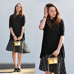 Carissa G. - Asos Shirt, Who What Wear Dress, Unlabeled Bag - Black & Gold