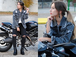 Claudia Villanueva - Trendencies Store Earrings, Sheinside Jacket, Stradivarius Jeans, Zaful Boots - Moto Girl