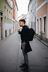 Kevin Elezaj - Dr. Martens Boots, H&M Suit Pants, H&M Turtleneck, Urban Outfitters Coat, Sandqvist Backpack - Chic