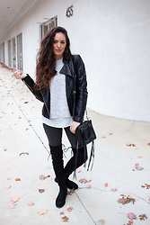 Megan Elliott - Club Monaco Kaelane Sweater, Bernardo Quilted Leather Moto Jacket, Dl Margaux Jean, Public Desire Joy Over The Knee Boots, Rebecca Minkoff Side Zip Mini Regan Tote - Leather & Lace-Ups