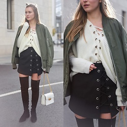Livia Auer - Asos Bomber Jacket, Chicwish Lace Up Knit, Chicwish Lace Up Skirt, & Other Stories Overknees, Lanvin Jiji Bag - Lace Up, Bomber Jacket & Overknees