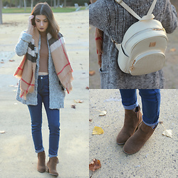 Adriana R. - Gamiss White Backpack, Zaful Camel Sweater, Gamiss Skinny Jeans, Sammydress Ankle Boots - LITTLE WHITE BACKPACK