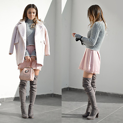 Tamara Bellis - Sammydress Sweater, Ppz Dress, Sammydress Coat, Gamiss Bag, Amiclubwear Over The Knee Boots - Easy Colors