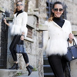 Manuella Lupascu - Shopbop Coat, Dkny Bag, Miu Sunglasses, Jeffrey Campbell Shoes Boots - Black and White Winter