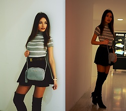 Porcelanna - Gamiss Turtleneck Sweater, H&M Skirt, Louis Vuitton Belt, Fabiola Bag, Buffalo Overknees - Minimal Chic