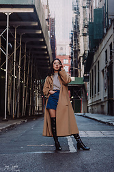 Yonish - Mixxmix Striped Turtleneck Top, Forever21 Denim Skirt, Zaful Thigh High Boots - Camel Coat in Chinatown