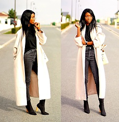 ASSITAN T. - Ego Shoes Sock Boots, Missguided Coat, Kenzo Kalifornia Bag, Asos Mom Jeans - Oversize coat