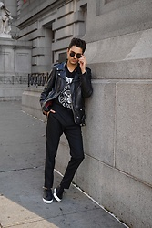 Phil Valles - Cos Trousers, Unnown Shoes, Schott Nyc Jacket, Ray Ban Sunglasses - Business Casual