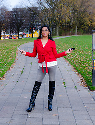 Natassia -  - Casually red in OTK boots